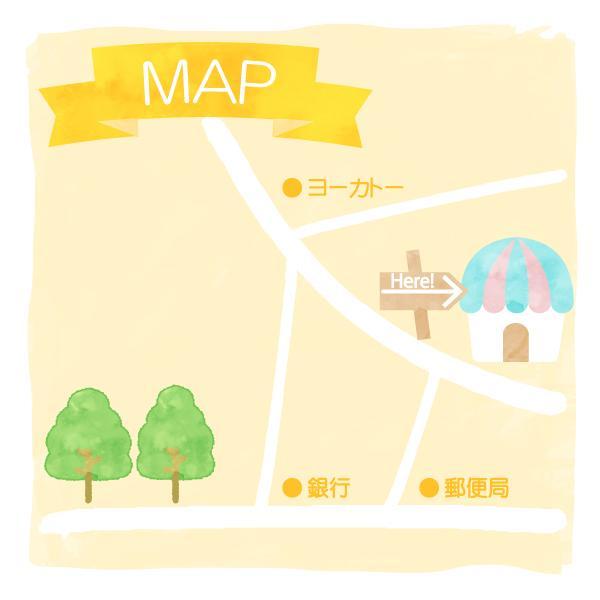 お洒落で可愛くわかりやすいイラスト地図作成致します チラシ、ホームページ、名刺などにおすすめです。