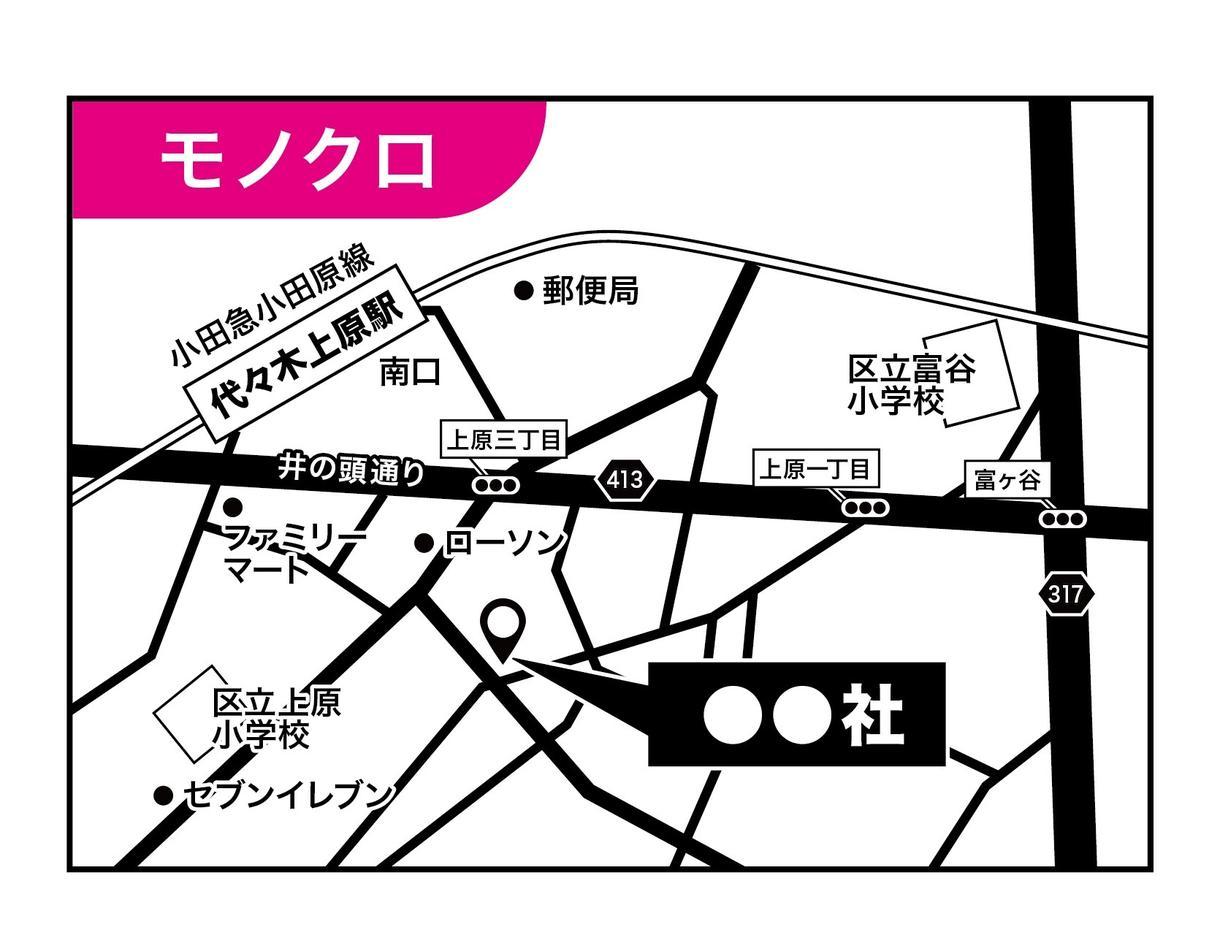 即納OK!何回でも修正無料!シンプル地図作成します 住所のみでOK!Aiデザイナーの高品質シンプル地図です! イメージ1
