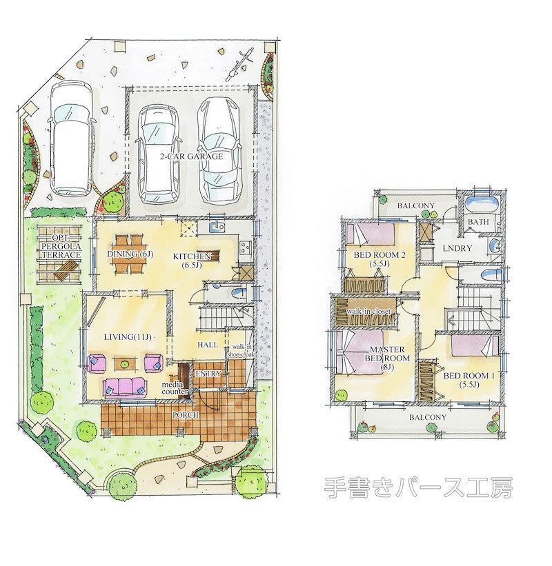 手描き平面図作成します 住宅やマンションなどの平面図を手書きでアレンジいたします。
