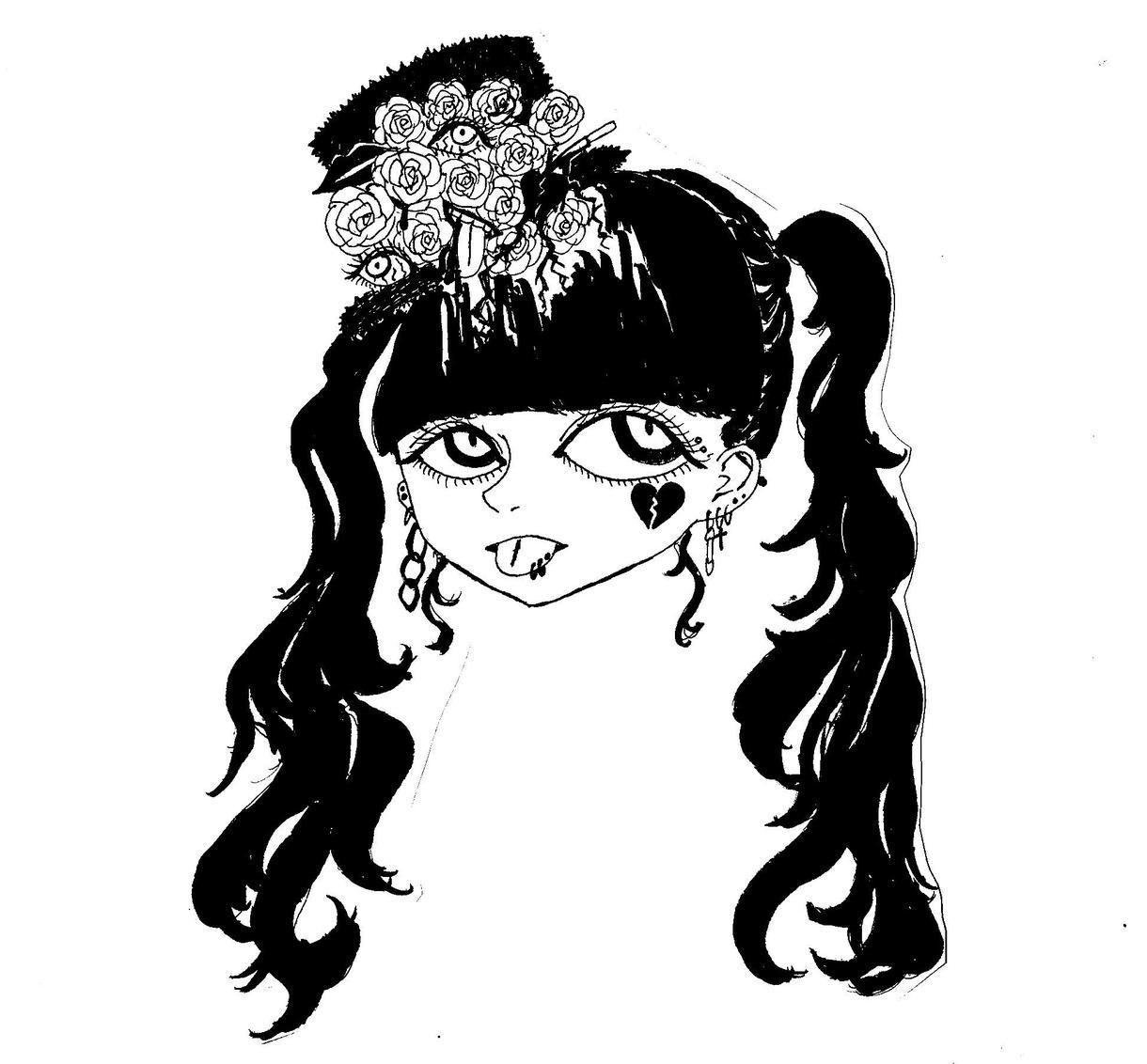 手描きでモノクロ女の子を描きます モノクロのイラストが好きな方ぜひ…