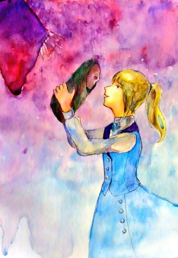 """写真や文章からイメージして女の子の水彩画描きます """"自分だけの水彩画が欲しい""""あなたにおすすめです!"""
