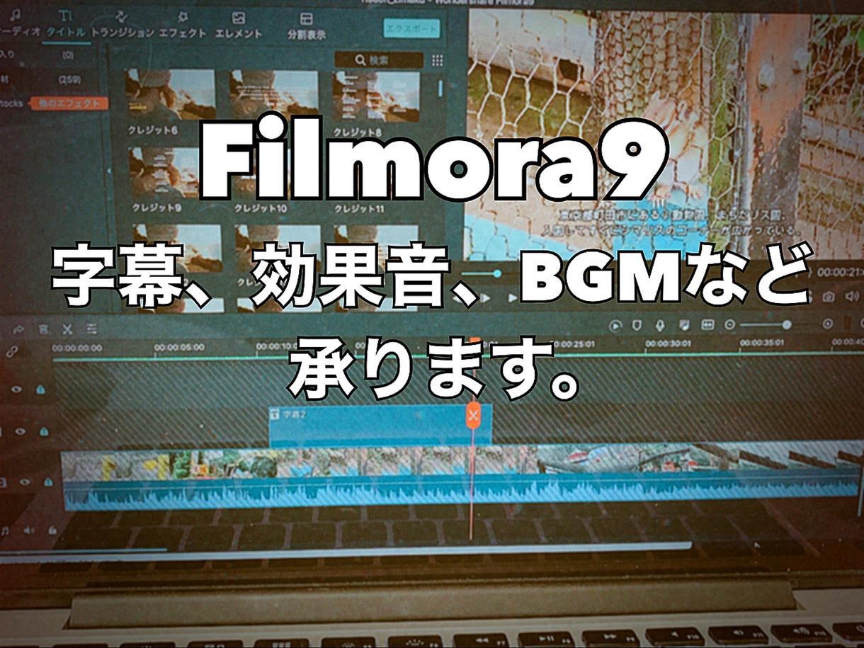 動画編集(Filmora9)いたします 動画のテロップや字幕、効果音、BGMできます!