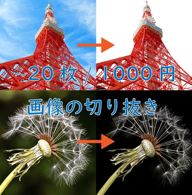 1000円で20枚の画像の切り抜きいたします 切り抜きをする時間がない、面倒くさい。といった方におすすめ!