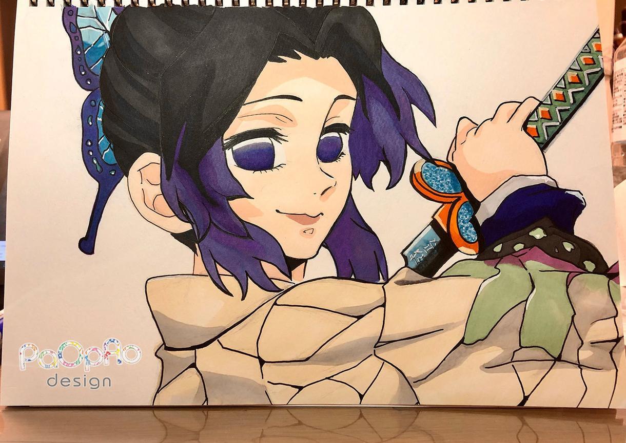 色紙に手書きイラスト描きます 「アニメ塗り」と「厚塗り」の2パターンで描きます イメージ1