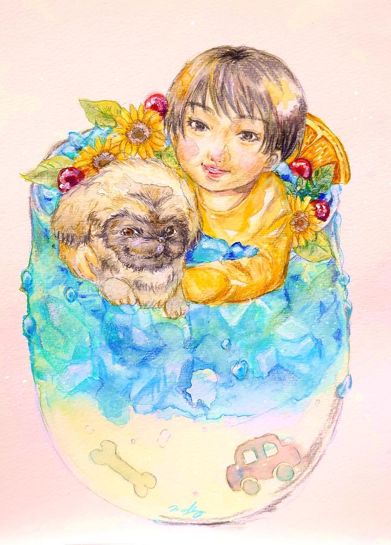 水彩画で優しいタッチの似顔絵描きます プレゼントやおうちに飾っても素敵です! イメージ1