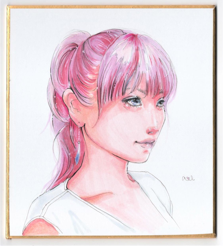 手描き似顔絵、あなたの髪色をピンク色に変化させます ミニサイズ色紙で原画をお届け、プレゼントにおススメです。