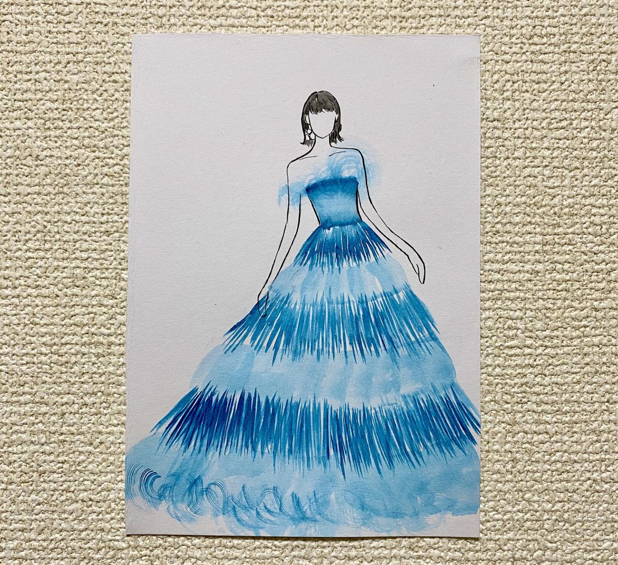 お気に入りのウェディングドレスをイラストにします お気に入りのドレスをイラストにして残しませんか?