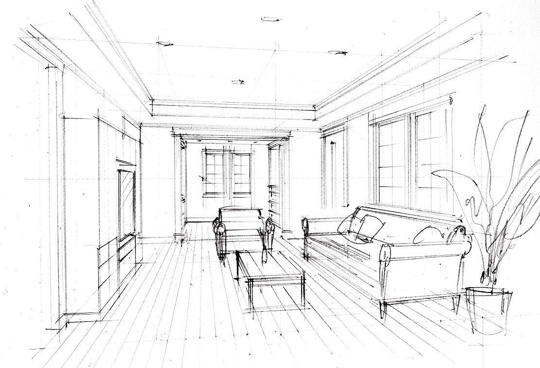 手描きの住宅パースを制作します 短時間で住宅のインテリアのパースを手描きで制作致します。