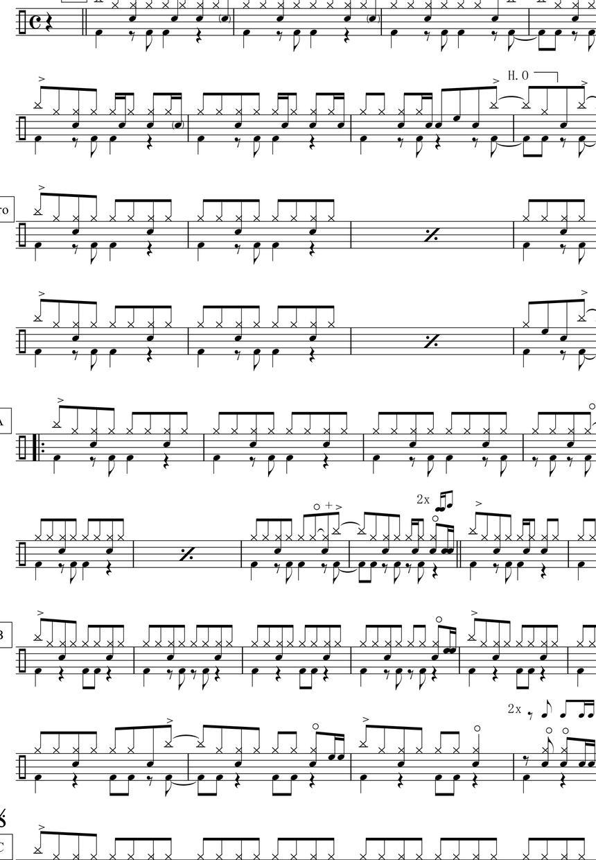 ドラムのみの楽譜・音源作成いたします ドラム譜とドラムのみの打ち込み音源作成いたします