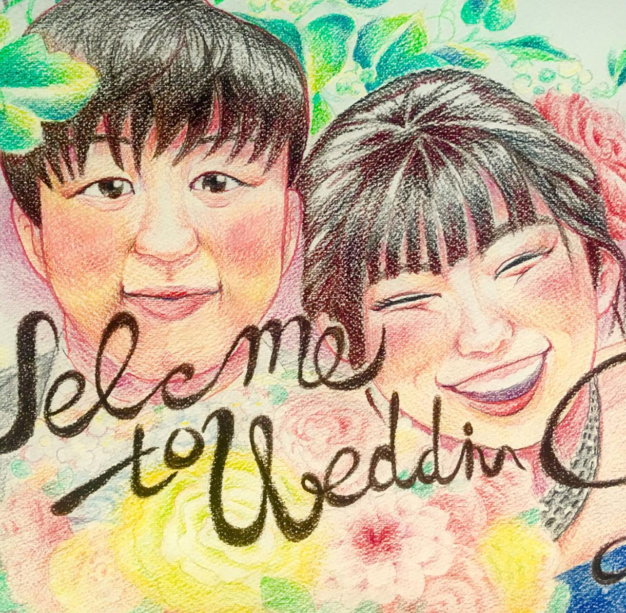 手書き!本格的なウェルカムボード描きます パステルを使って幸せな瞬間を絵に残してます。大切な人とどうぞ