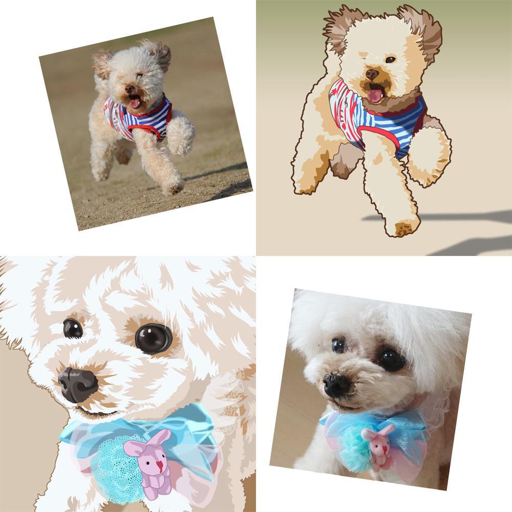 写真からリアル系・可愛い系のペットイラスト描きます 犬・猫・鳥・亀など可愛いペットのアイコンなどにお使いください