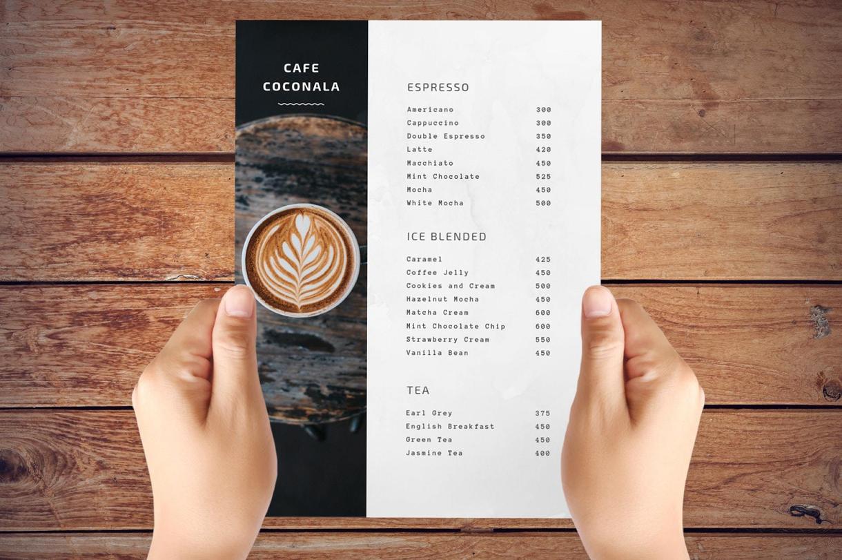 すっきりきれいなお店のメニュー表を作ります レストラン、カフェ、居酒屋から美容室、整体院、パーティーなど