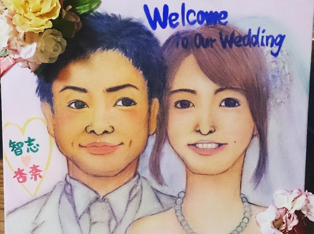 手描き★似顔絵・ウェルカムボード作成いたします 結婚式にて、御祝い、贈り物に是非!