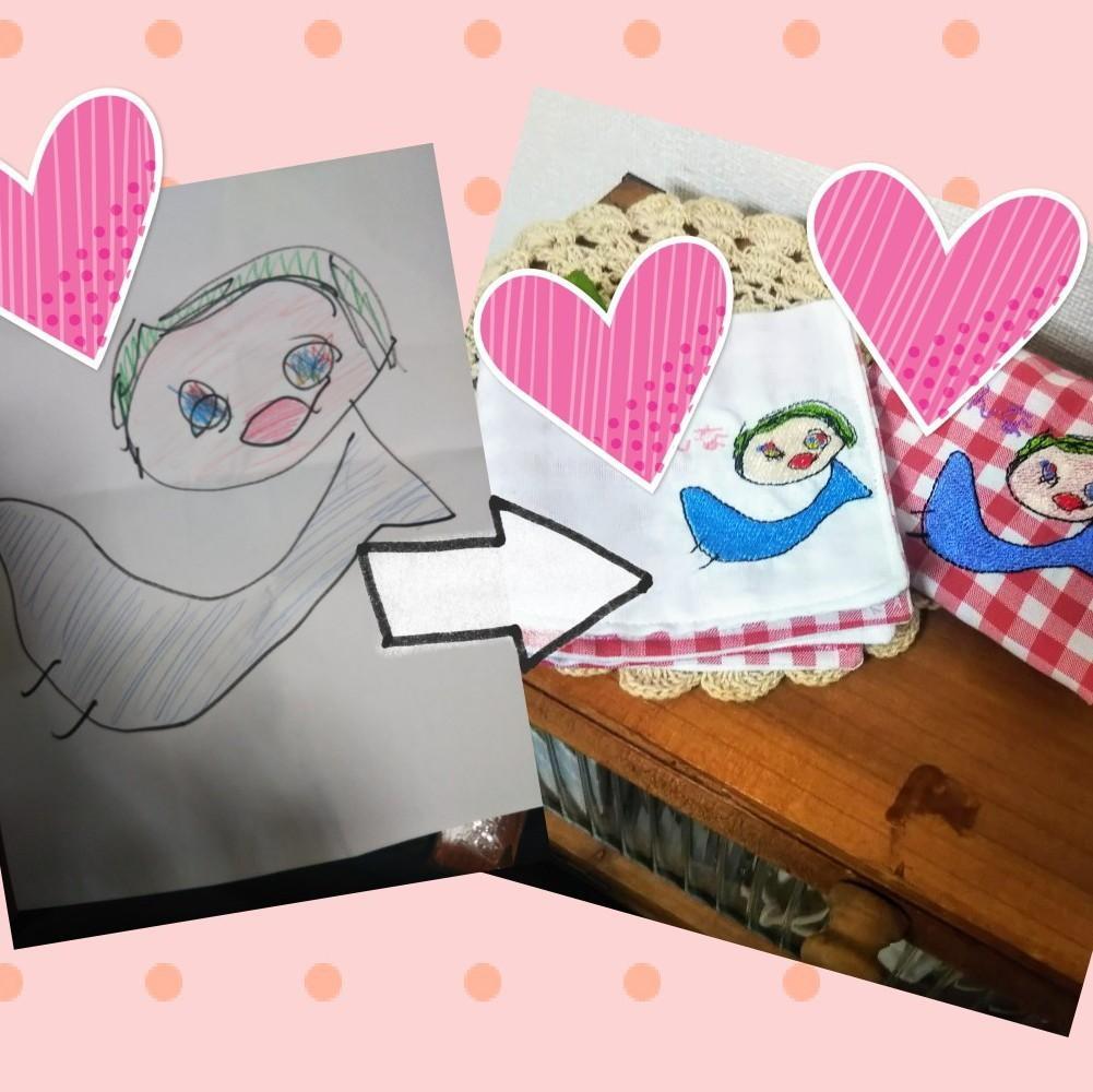 お子様の絵をハンカチとティッシュカバーにします 入学入園グッズバースデイプレゼント、オーダーメイドハンカチ