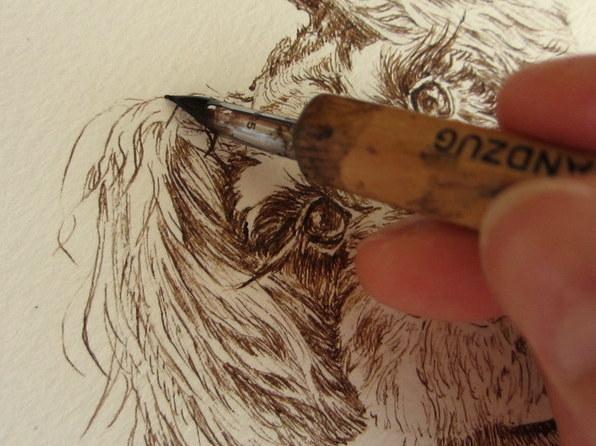 ペットの肖像画をペンとインクで手描きします シンプルなペットの絵は飾る場所を選びません