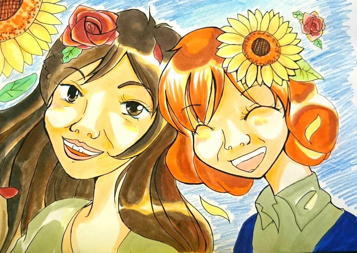 写真から似顔絵イラスト描きます ウェルカムボードや誕生日などの記念日におすすめ