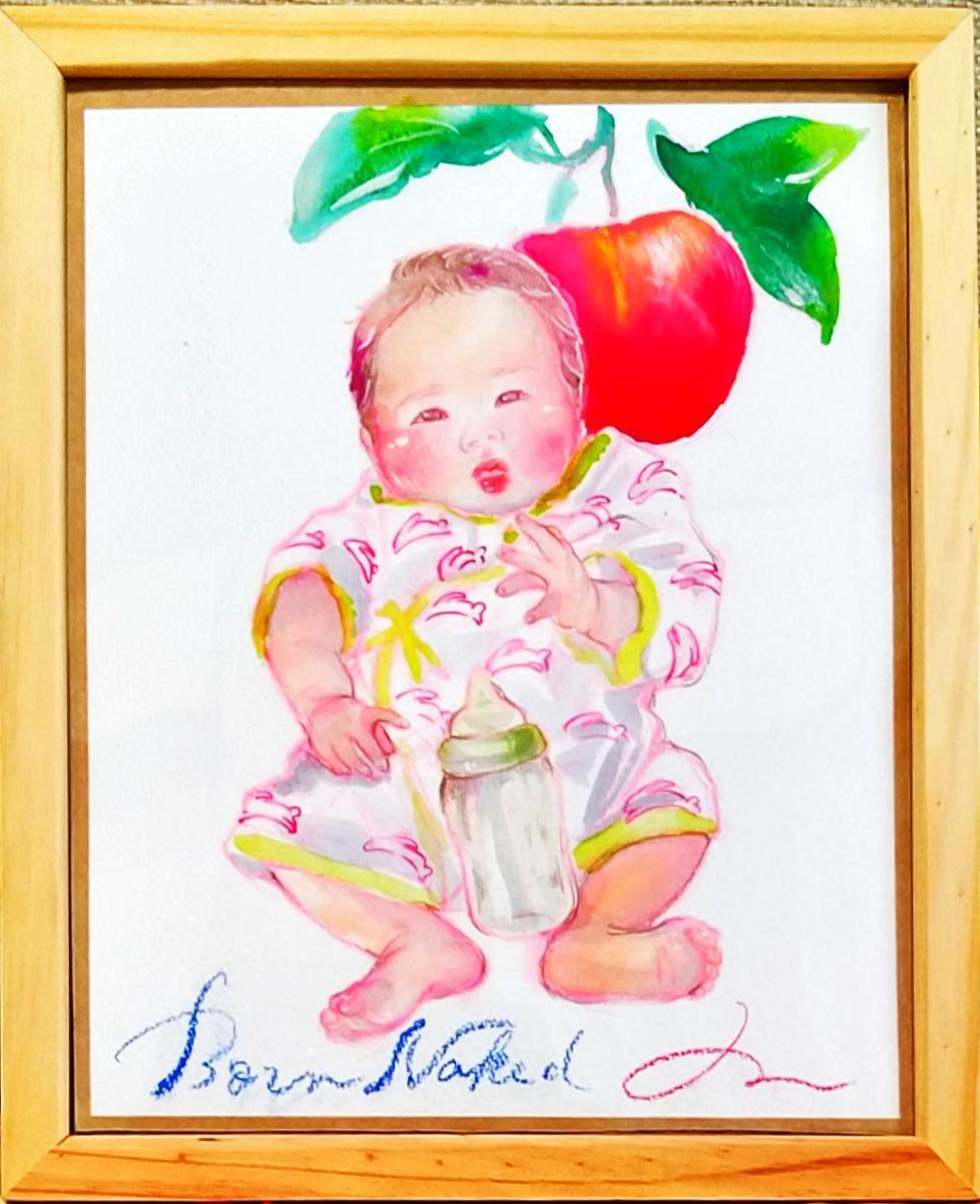 原画額縁つき・新生児の似顔絵描きます お子さんの新生児期の写真から水彩絵にしませんか? イメージ1