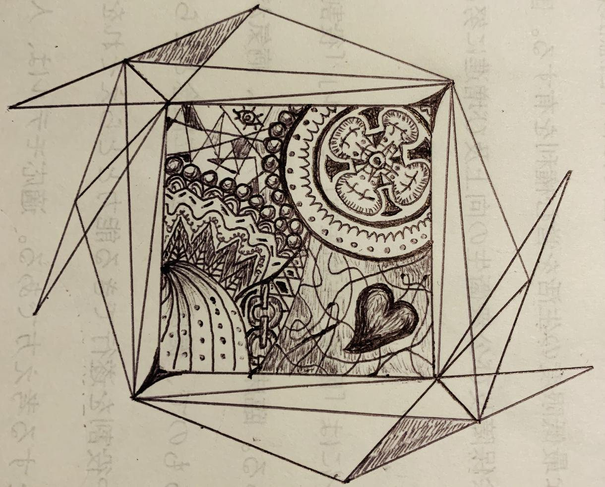 蝶、花、人などの変わったボールペン画を描きます 普通の大学生が趣味で描く変な絵
