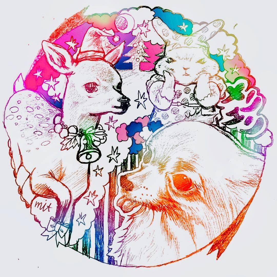 カラフルポップに動物のイラスト描きます ペットのイラストを思い出に残しませんか?