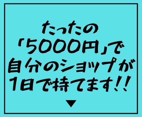 5000円で自分のショップを1日で持てます 5千円であなたもたった1日でショップオーナーに!?