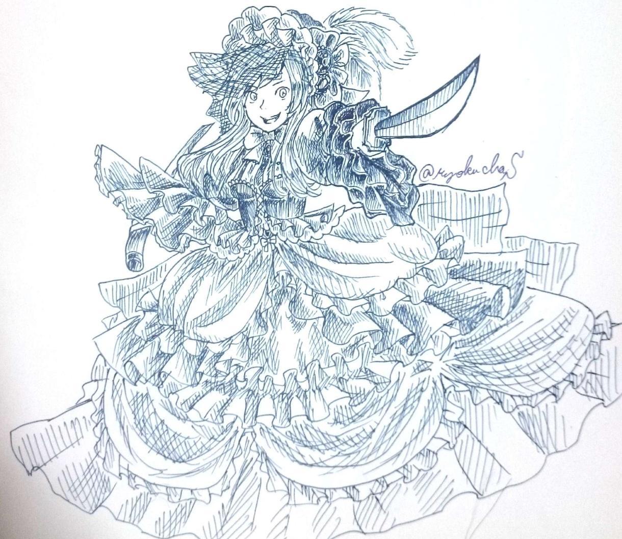 童話調白黒絵のキャラ絵描きます 細かな描き込みで童話のような雰囲気