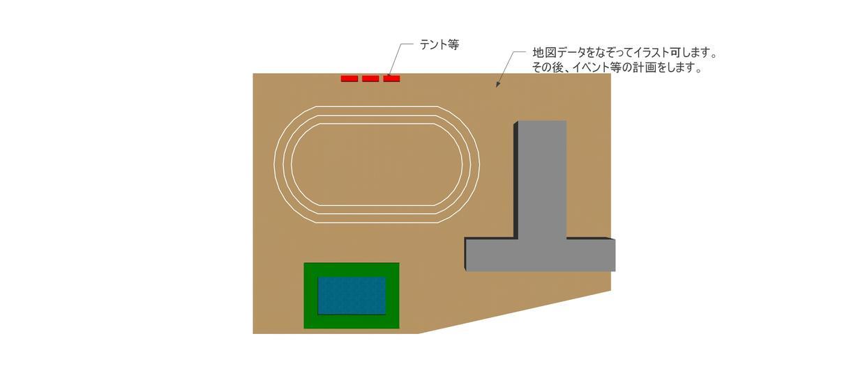 イベントに必要な、配置図等のイメージ図を作成します 現役の建築士、建築施工管理技士が「絵が描けない」をお手伝い