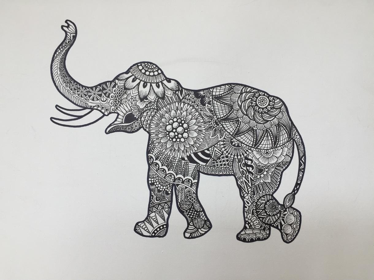 動物にゼンタングル風イラストお描きします オシャレなお部屋に1枚どうぞ♪