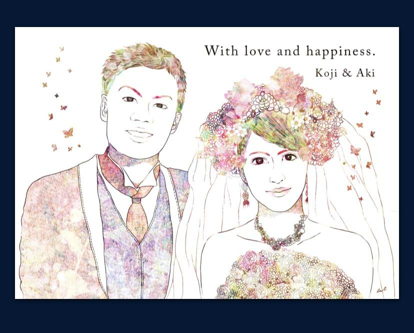 結婚式など、デジタル画像でイラストを描きます 入り口を華やかに彩るウェルカムボードのお手伝いをします