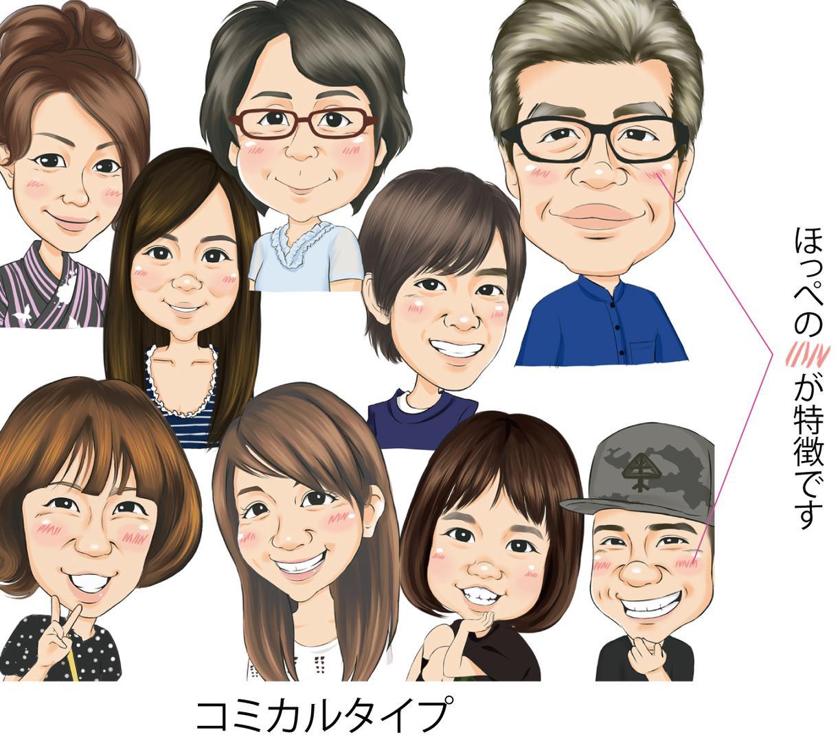 2(コミカルタイプ)の顔をお描きします 追加料金1000円でバストアップまでお描き出来ます。