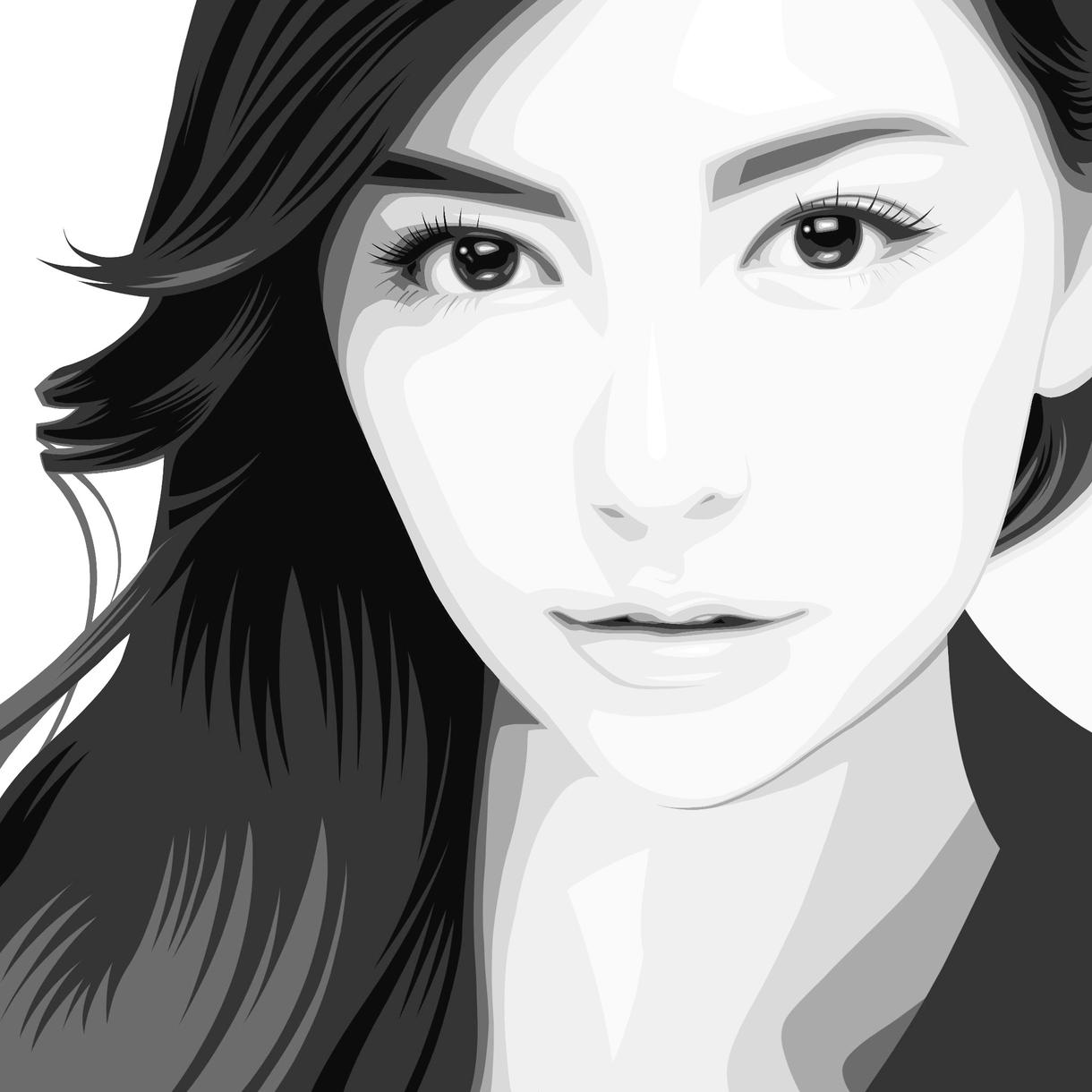 似顔絵をおしゃれなアートに仕上げます おしゃれ似顔絵アートでさらに美しく。