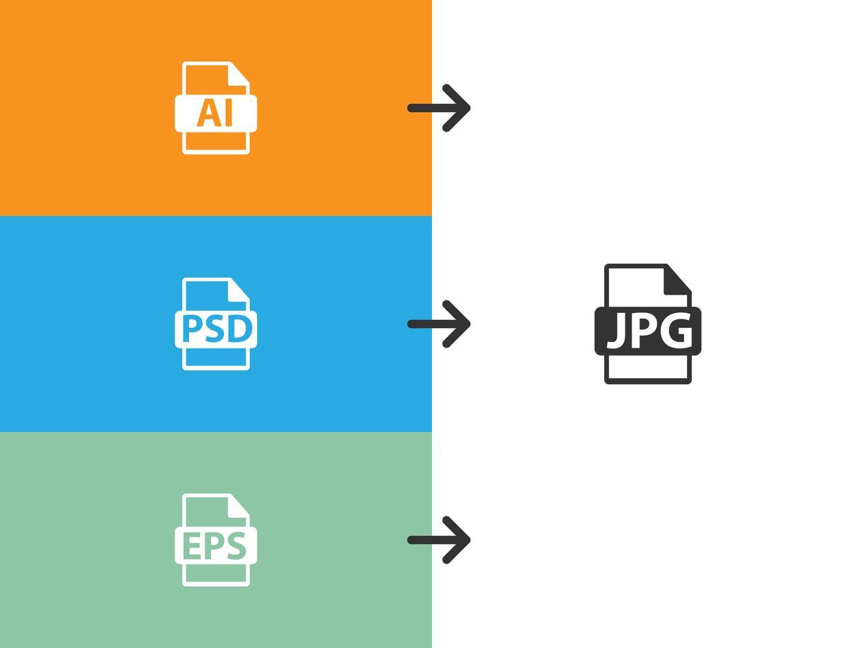 イラレなどAdobe系ソフトのデータを、JPEGデータなどお望みの形式にコンバートします。