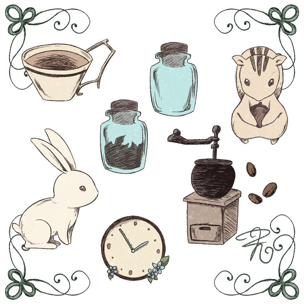 アンティーク風小物や動物イラストお描きします カットイラストやアイコン、ワンポイントなどに