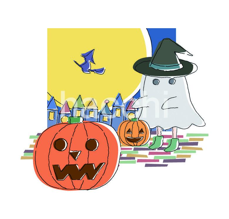 秋にもってこいのイラストを提供いたします 秋のイラスト3点セット(お月見・ハロウィン・果物)