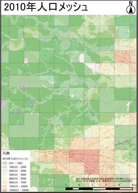 将来推計人口を重ねた地図を作成します 自店の商圏分析など行いたい方に!