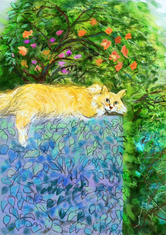 iPadでペットや風景などの絵を描きます ホット和むような絵を飾りたい方へ