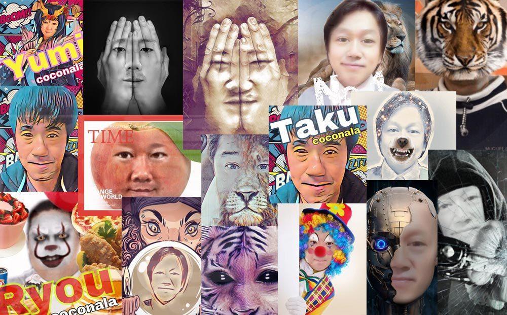 1枚の写真からSNSアイコン10パターン制作します 訪問者の潜在意識に特別なメッセージを投げ込む特殊加工も可能!