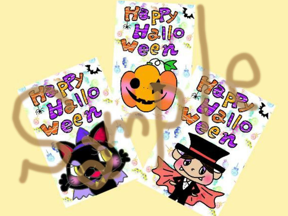 ハロウィン用★お菓子袋台紙、メッセージカード、アイコン、似顔絵可、プレゼントなど★