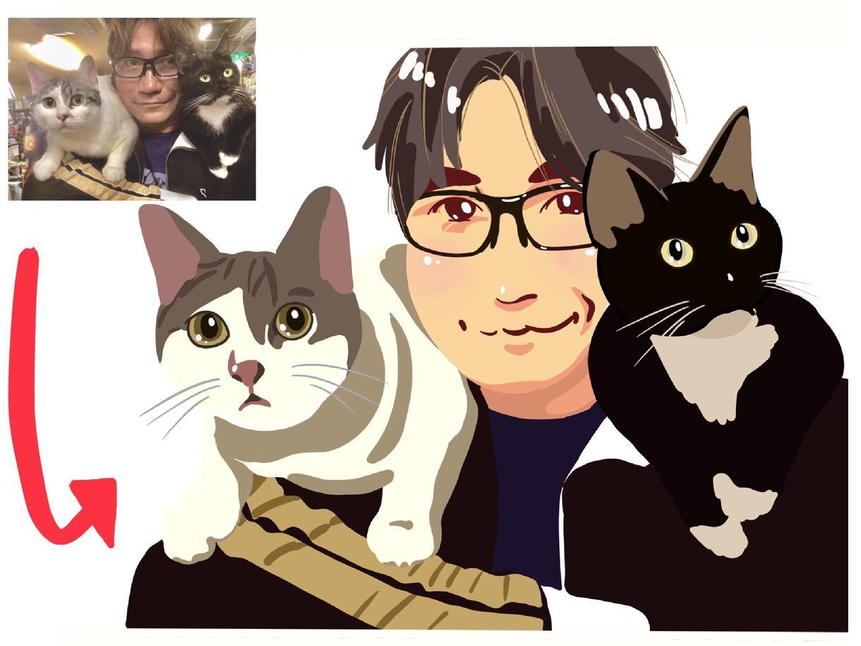かわいいご家族とのイラスト描きます わんちゃん猫ちゃんなどとご一緒に。