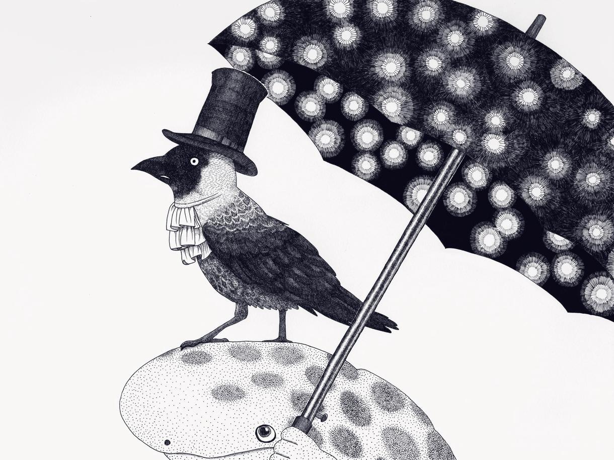 幻想的なモノクロのイラストを描きます 【アイコン、挿絵にも】ペン画家による繊細でおしゃれなアート イメージ1