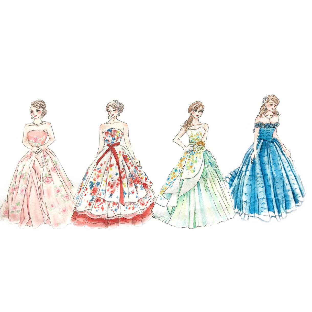 結婚式のドレスの色当てクイズ用イラスト作成します 花嫁さんのドレスの色を当てるクイズで会場を盛り上げよう