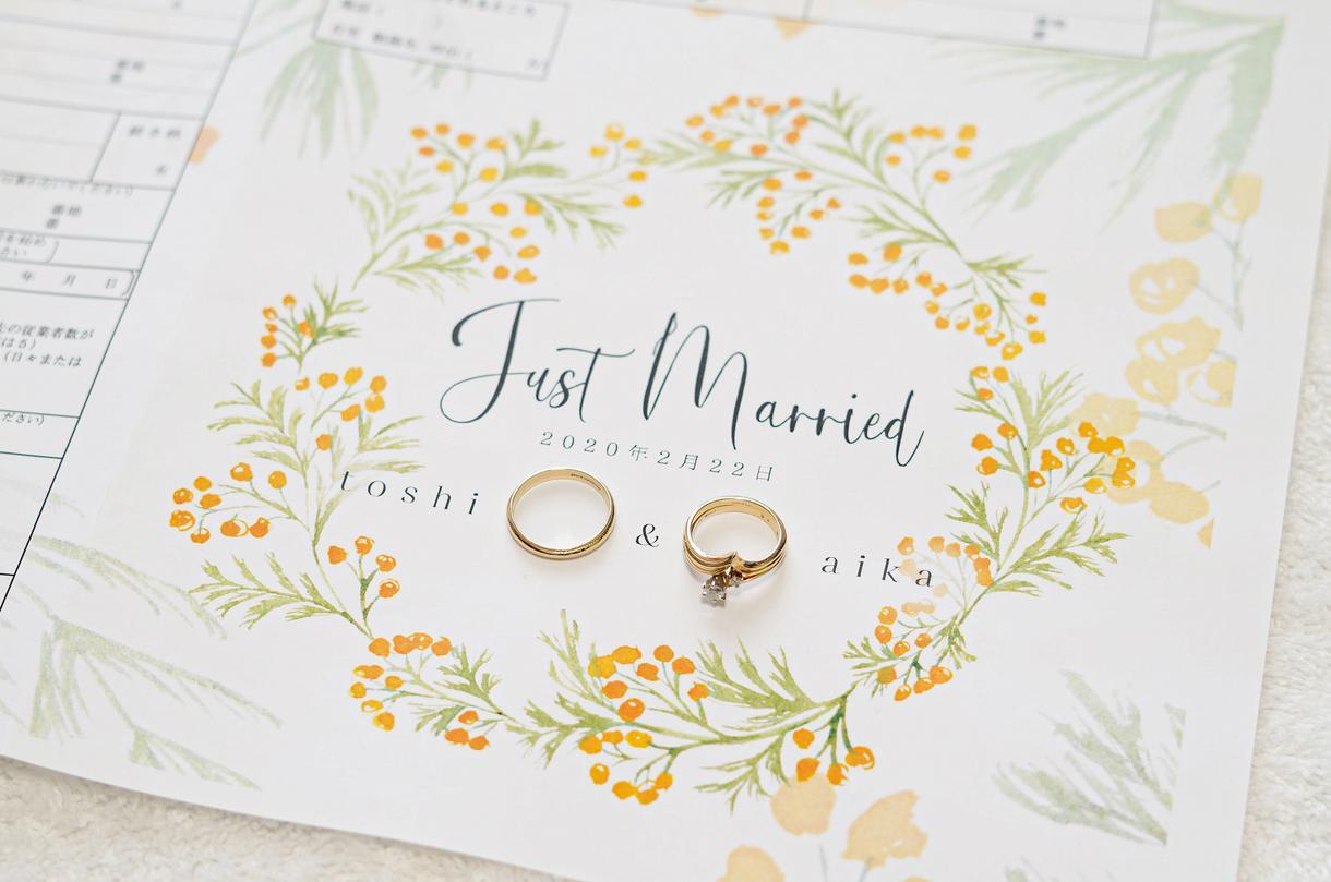 水彩画タッチで婚姻届を描きます 結婚まじかの方用・大切な記念日を華やかな写真を撮りましょう イメージ1