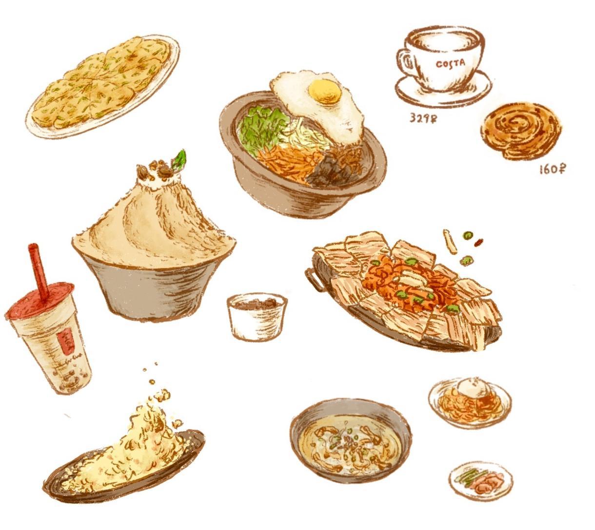 メニューの挿絵等に♡かわいい食べ物イラスト描きます 手描きのあたたかいタッチで!スイーツから和食洋食何でも!
