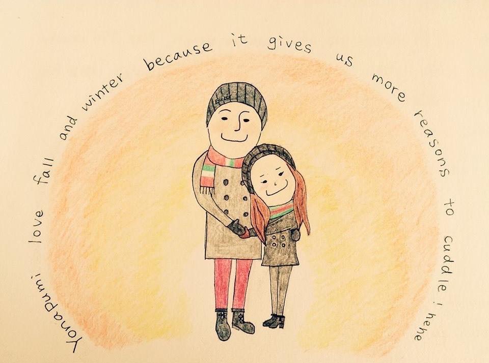 大好きな人へのイラストカードを描きます 大好きな愛する人へ特別な思いを伝えたいあなたに