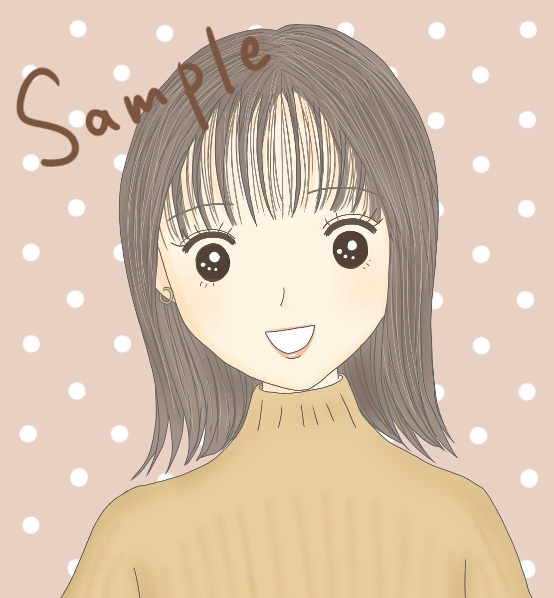 SNS用!お洒落可愛い女性のアイコン描きます 優しい雰囲気のオリジナルアイコンでフォロワー増!