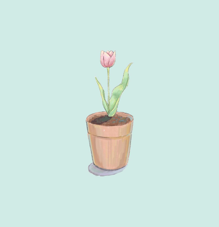 シンプルな植木鉢のお花アイコン描きます 1輪のお花が結局1番かわいい! イメージ1