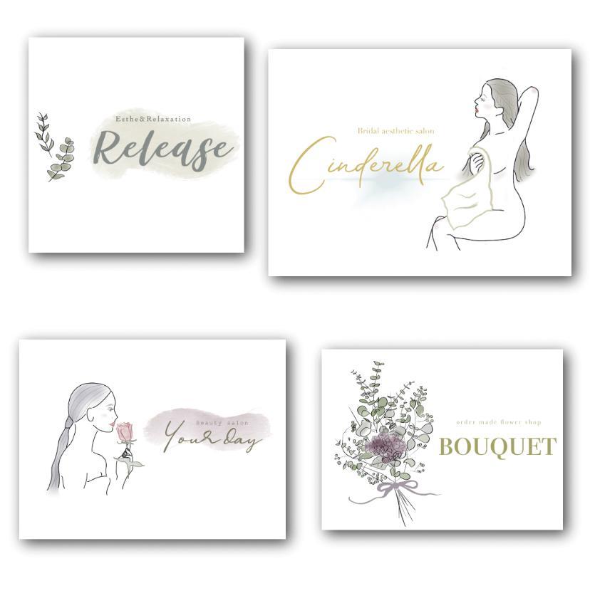 女性に好評!イラストつきのロゴ制作致します おしゃれなイラスト付き!こだわりのロゴをお求めの方に。 イメージ1