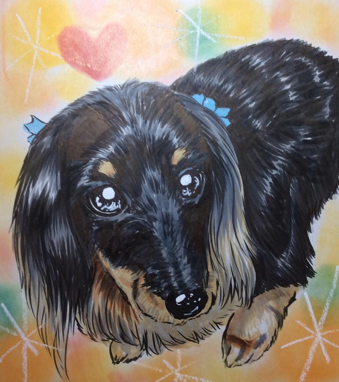 プロ似顔絵師がペット・動物のイラストお描きします 色紙にワンちゃんや猫ちゃんをちょいリアルめで可愛く描きます! イメージ1