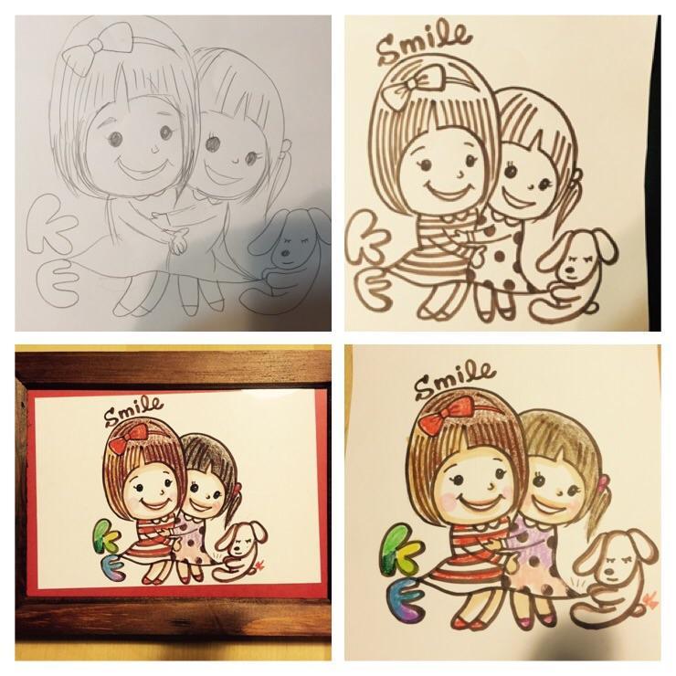 ♡シンプル でキュートでハッピーなイラスト描きます♡夢や 想いの ワンシーンをイラストでカタチに♡