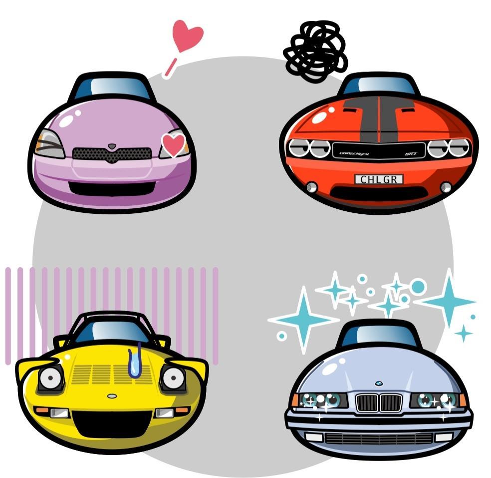 くるまにがおえ・あなたの車のアイコン画像を作ります 大好きな車の顔で感情を伝えましょう。 イメージ1