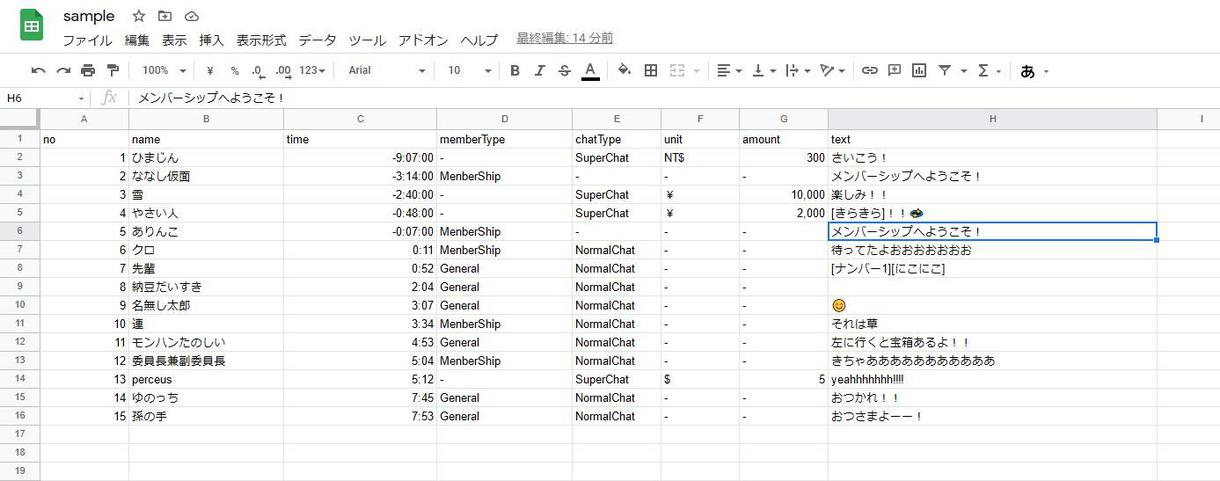 YouTube配信のチャットをcsvで提供します チャットの活用・分析にご利用ください!! イメージ1